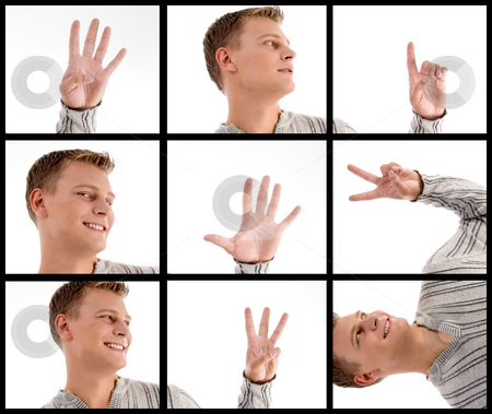 Photomontage of handsome man with hand gestures stock photo, Photomontage of handsome man with hand gestures by Imagery Majestic