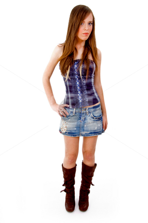 Front view of beautiful young model stock photo, Front view of beautiful young model on an isolated background by Imagery Majestic