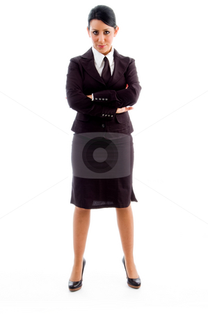 Young businesswoman with crossed arms stock photo, Young businesswoman with crossed arms with white background by Imagery Majestic
