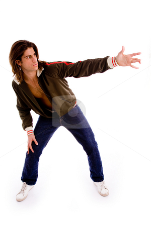 Hip hop retro man dancing stock photo, Front view of man in action on an isolated background by Imagery Majestic