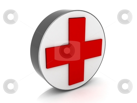 Medical red cross sign stock photo, Isolated 3d medical red cross sign by Imagery Majestic