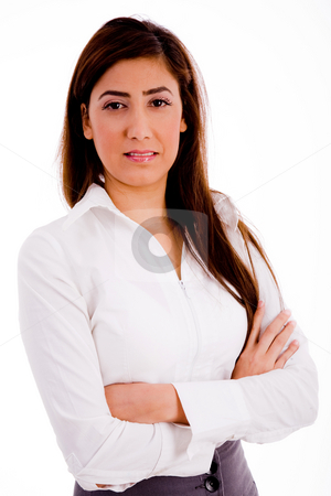 Front view of executive with folded hands stock photo, Front view of executive with folded hands on an isolated white background by Imagery Majestic