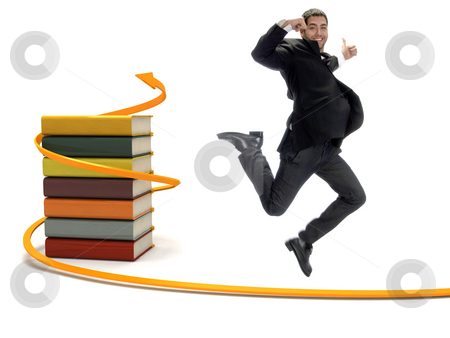 Young successful student showing happiness with thumbs up stock photo, Young successful student showing happiness with thumbs up and 3D wrapped books with arrow by Imagery Majestic