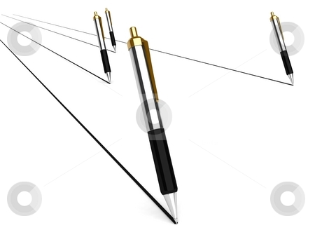 Pens stock photo, 3d pens with white background by Imagery Majestic