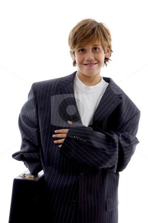 Front view of smiling young businessman  stock photo, Front view of smiling young businessman against white background by Imagery Majestic