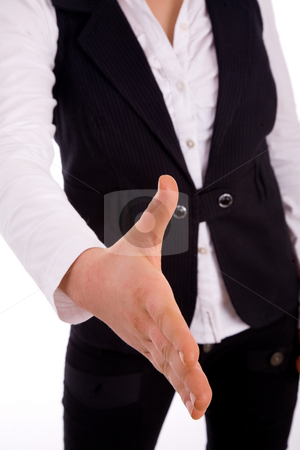 Front view of woman offering handshake stock photo, Front view of woman offering handshake on an isolated white background by Imagery Majestic