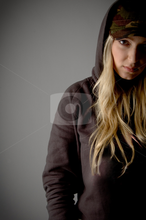 Front view of adult female looking at camera stock photo, Front view of adult female looking at camera on an isolated background by Imagery Majestic