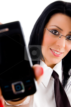 Lawyer showing cell phone stock photo, Lawyer showing cell phone against white background by Imagery Majestic
