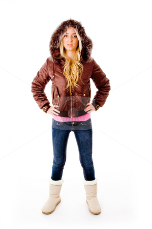 Front view of standing young model with hood jacket stock photo, Front view of standing young model with hood jacket on an isolated white background by Imagery Majestic