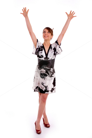 Full body pose of happy young women stock photo, Full body pose of happy young women against white background by Imagery Majestic