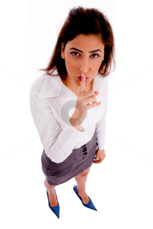 Quite female keep shushing stock photo, Top view of female keep shushing with white background by Imagery Majestic