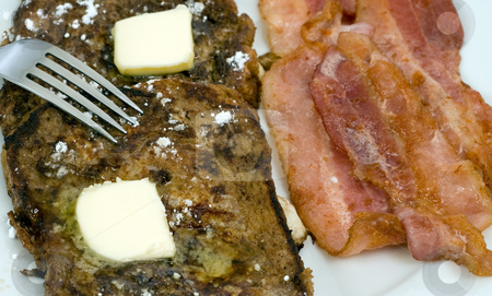 Yummy Breakfast stock photo, Closeup view of a yummy breakfast with a fork about to dig in by Richard Nelson