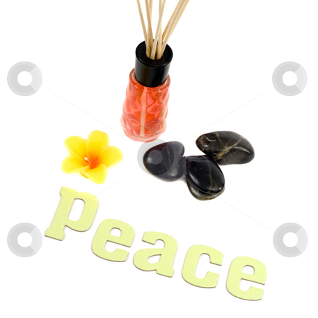 Peace Concept stock photo, Concept of peace by using a scented flower candle and aroma reeds, along with some relaxing stones, isolated against a white background by Richard Nelson