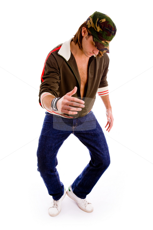 Front view of man dancing stock photo, Front view of man dancing on an isolated white background by Imagery Majestic