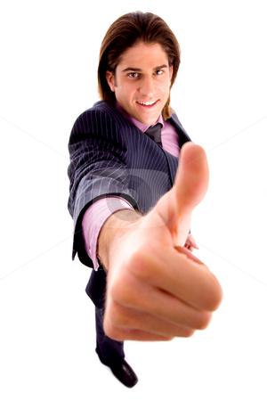 Top view of smiling man with thumbsup stock photo, Top view of smiling man with thumbsup against white background by Imagery Majestic