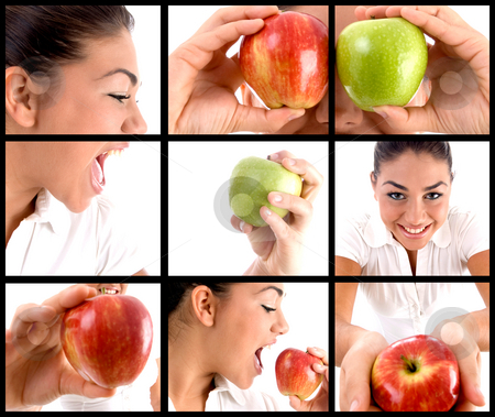 Photomontage of  woman eating apple stock photo, Photomontage of woman eating apple on square background by Imagery Majestic