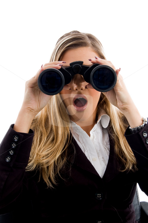 Young woman eyeing with binoculars stock photo, Young woman eyeing with binoculars with white background by Imagery Majestic