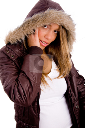 Front view of female looking at camera stock photo, Front view of female looking at camera on an isolated background by Imagery Majestic