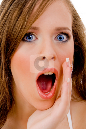 Shocked fashion woman stock photo, Close view of shocked young woman with white background by Imagery Majestic