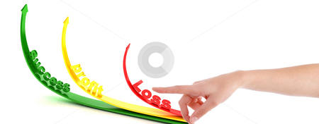 Pointing hand gesture with profit and loss arrows stock photo, Pointing hand gesture with 
