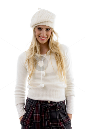 Front view of smiling female with hat  stock photo, Front view of smiling female with hat against white background by Imagery Majestic