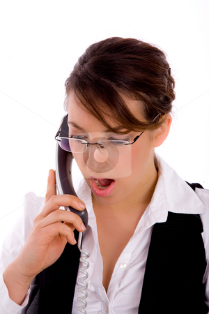 Front view of shocked young businesswoman stock photo, Front view of shocked young businesswoman on an isolated background by Imagery Majestic