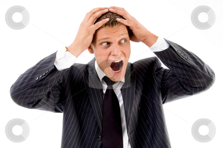 View of shocked professional person stock photo, View of shocked professional person on an isolated background by Imagery Majestic