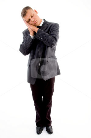 Standing sleeping professional stock photo, Standing sleeping professional on an isolated white background by Imagery Majestic