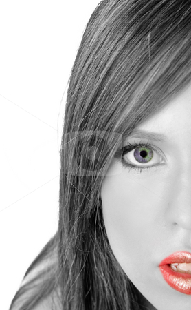 Female portrait of beauty facial woman stock photo, Close up of model looking at camera on an isolated white background by Imagery Majestic
