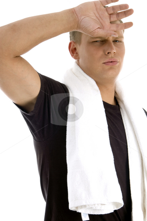 Man feeling tired stock photo, Man feeling tired on an isolated white background by Imagery Majestic
