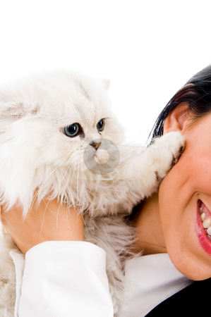 Cute kitten playing stock photo, Young sisters playing with cat on an isolated white background by Imagery Majestic
