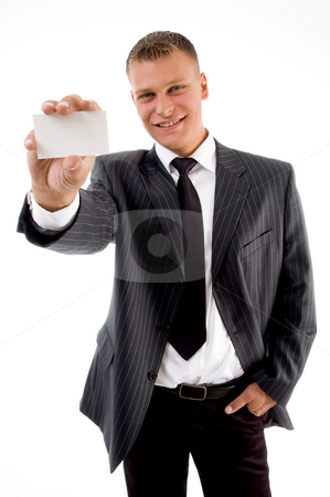 Happy businessman showing business card stock photo, Happy businessman showing business card on an isolated white background by Imagery Majestic