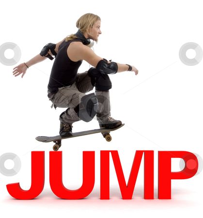 Skater jumping over text stock photo, Skater jumping over three dimensional jump text by Imagery Majestic