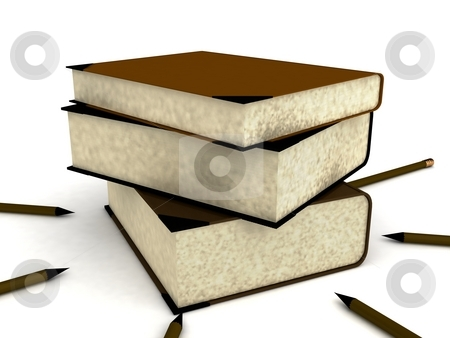 Pile of books stock photo, 3d pile of books on an isolated white background by Imagery Majestic