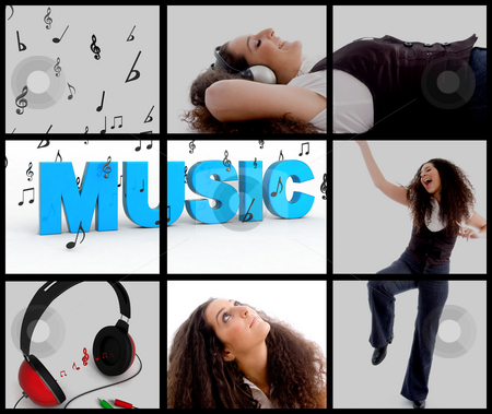Composition of woman with headphones and enjoying music stock photo, Composition of young woman with headphones and enjoying music by Imagery Majestic