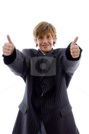 Front view of happy young professional with thumbs up stock photo, Front view of happy young professional with thumbs up with white background by Imagery Majestic
