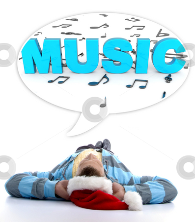 Laying man with christmas hat watching musical notes stock photo, Laying man with christmas hat looking at three dimensional musical notes and music text by Imagery Majestic
