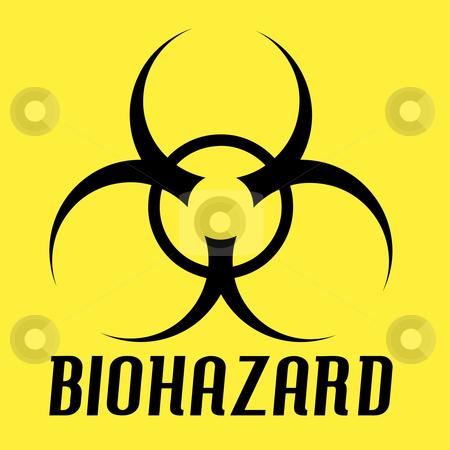 Biohazard Symbol stock photo, Black biohazard symbol over a yellow background. by Todd Arena