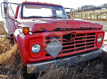 Old red truck stock photo,  by J.G. Byers