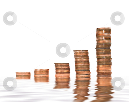 Financial Concept stock photo, A financial concept with stacks of pennies increasing like a graph, signifying success by Richard Nelson