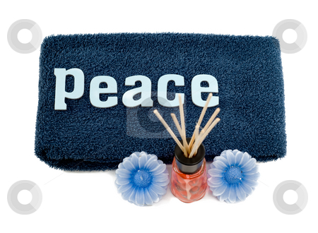 Peace stock photo, A concept of peace with a soft towel and some aromatherapy ideas by Richard Nelson