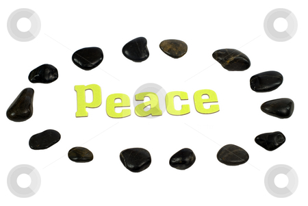 Surrounded By Peace stock photo, Peace concept with the word peace, surrounded by relaxing river rocks, isolated against a white background by Richard Nelson