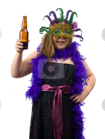 Underage Drinking Concept stock photo, Concept image of a young child holding a bottle of beer while wearing a dress suitable for a party, isolated against a white background by Richard Nelson