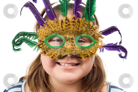 Party Child stock photo, Closeup of a party child wearing a feather mask, isolated against a white background by Richard Nelson