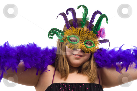 Party Time stock photo, A young girl wearing a feathered mask and holding a long blue boa by Richard Nelson