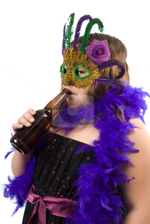 Child Drinking Beer stock photo, A young underage girl dressed in a costume is drinking a beer, isolated against a white background by Richard Nelson