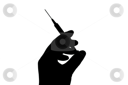 Needle Icon stock photo, Silhouette of needle in hand on white. by Todd Dixon