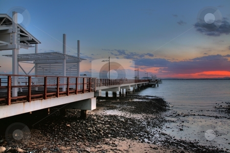 Pier at sunset stock photo, Pier in Australia at sunset. this is a HDR combination of 3 images by DAVID HILCHER