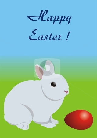 Easter bunny and red egg stock photo, Easter card - a bunny, looking at a red egg. by Mihai Zaharia
