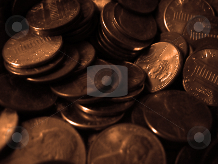 Pennies Macro stock photo, A macro of a pile of copper pennies. by Todd Arena
